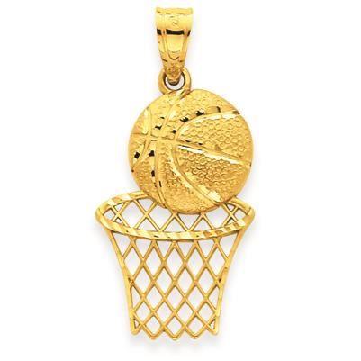 Collier Pendentif14 ct 585/1000 diamant or -Coupe Basket et-Charmnet (vient avec une Chaîne de 45 cm)