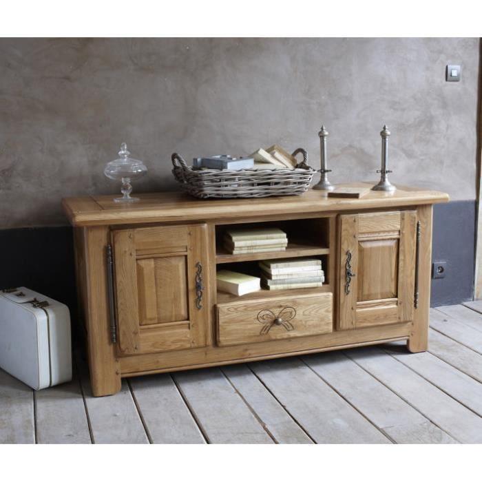 1b085323c05ea8 Meuble télé chêne massif  Amélie  - Achat   Vente meuble tv Meuble ...