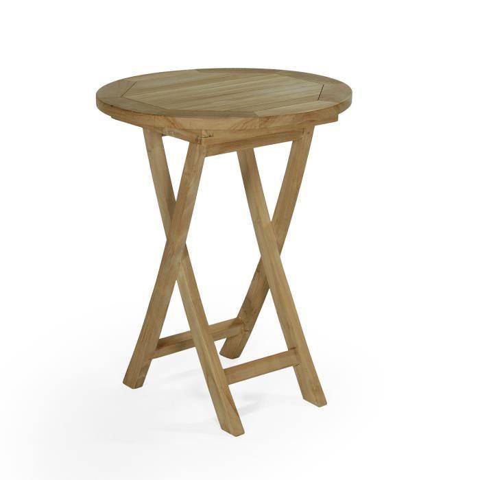 Table pliante ronde en teck Ecograde Bistrot ø 60 cm