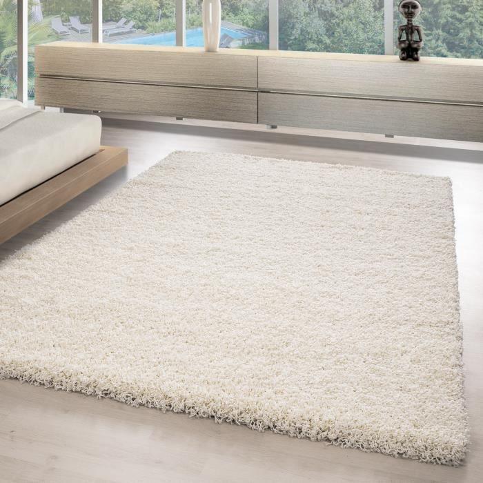 Shaggy Shaggy Tapis_salle de séjour DE CHARME salle pour les jeunes tapis_LIFE1500_ [Ivory, Ø 200 cm Rond]