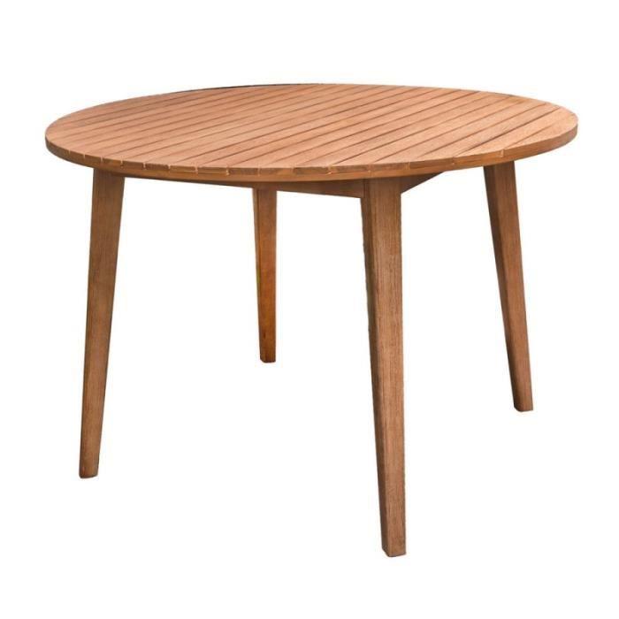Table de jardin ronde 110cm en bois d\'acacia MURCIA - L 110 x l 110 ...