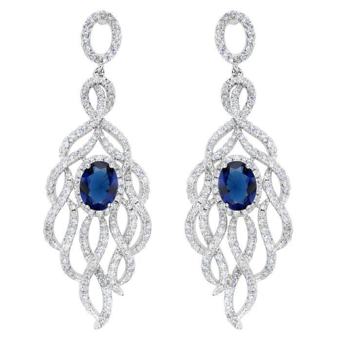 EVER FAITH®-Argent 925 Classique Elégant Paon Plume-Forme Boucle dOreille Zircon Bleu Ton dArgent