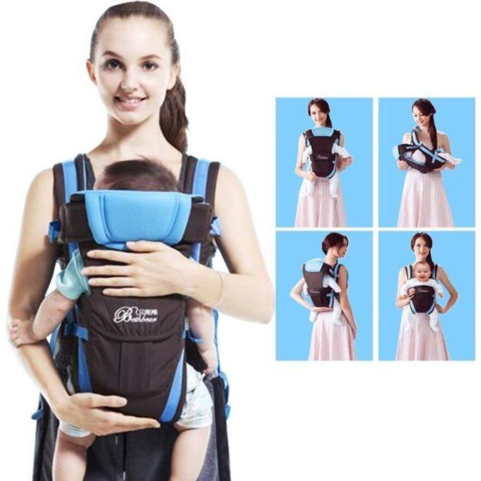 059e9fdb69c Nouveau-né Porte bébé réglable Sling Wrap Baby Carrier sac à dos pour BéBé  0-2 ans - Bleu