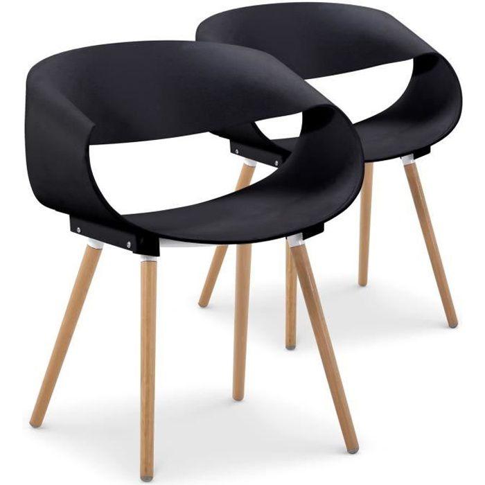 lot de 2 chaises scandinaves design zenata noir - achat / vente