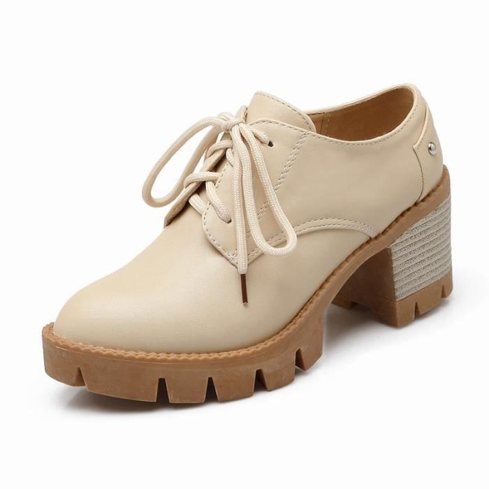 Chaussures Femme élégante Lacets Plateforme En PU Cuir Toutes les pointures de la 35 à la 43