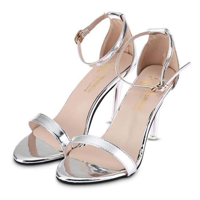 Solide Couleur sexy brillant dames sandales à talon mince