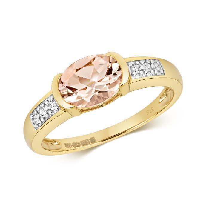 Bague Femme Or 375-1000 et Diamant Brillant 0.06 Carat avec Morganite 37441