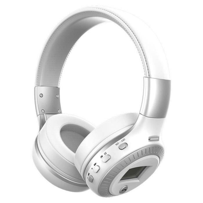 Zealot B19 Casque Stéréo Sans Fil Musique Fm Radio Bluetooth Avec Microphone Blanc, Argent