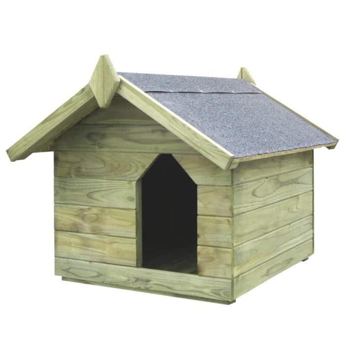 69668faeaacd0 Niche de jardin et toit ouvrant pour chiens Pin imprégné FSC - Achat ...