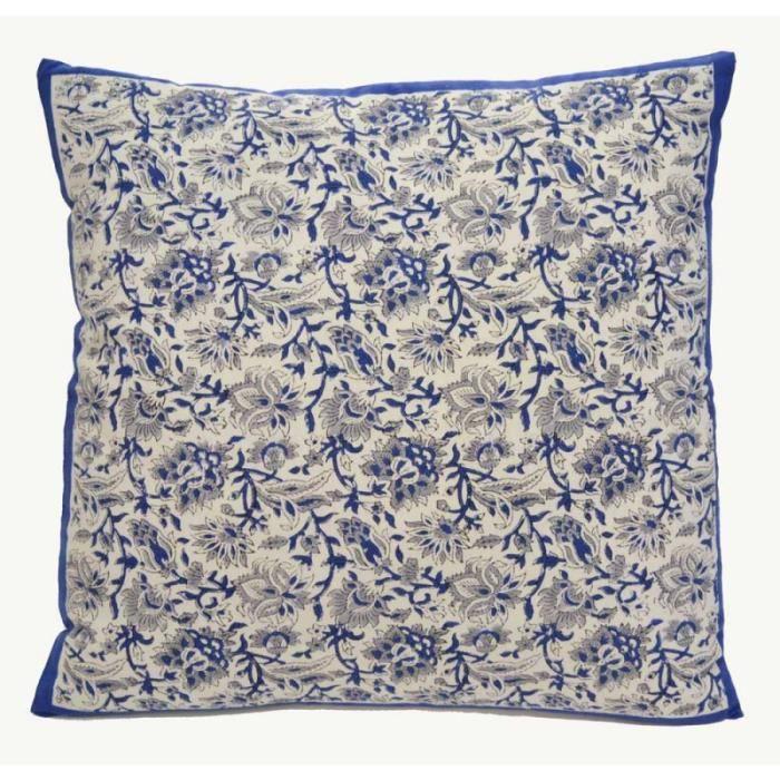 housse de coussin block print 60x60 bachette de coton. Black Bedroom Furniture Sets. Home Design Ideas