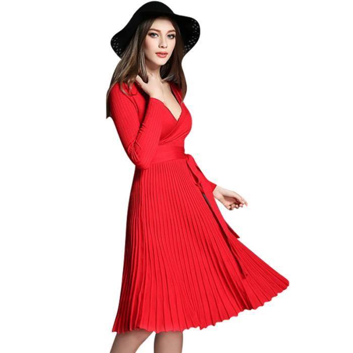 Nouveau Femmes Robes À Manches Longues Tricot Vintage Robe FXG-FZ090Orange