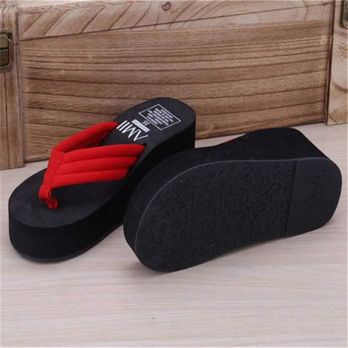 D'été Pantoufles Hauts Talons Sandales de Plage Dames Épais Haute Femmes Plage Flip Flops Wedge Plate-Forme Chaussures FGbtNl