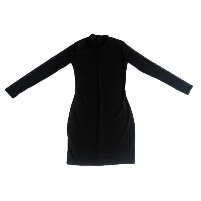 Femmes sexy à manches longues maille moulante Club robe, Noir