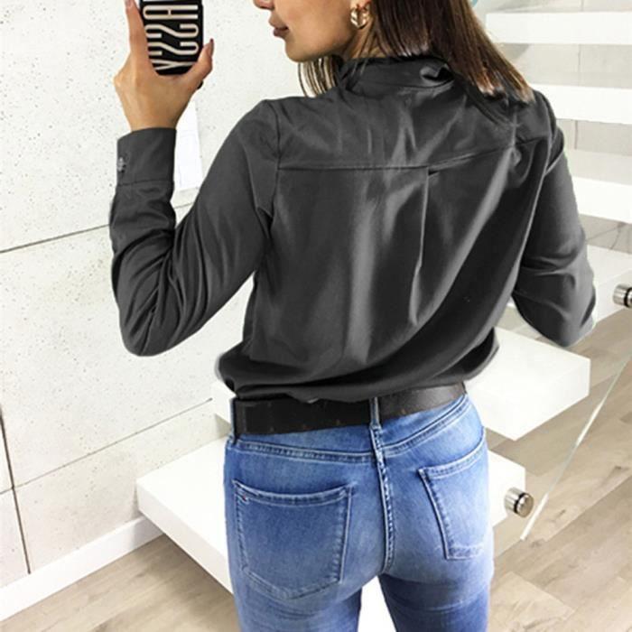 À Solides Revers Longues Botton Manches Chemise Mode Casual Tops Col Chemisier Femmes Noir wXSFxWqt1