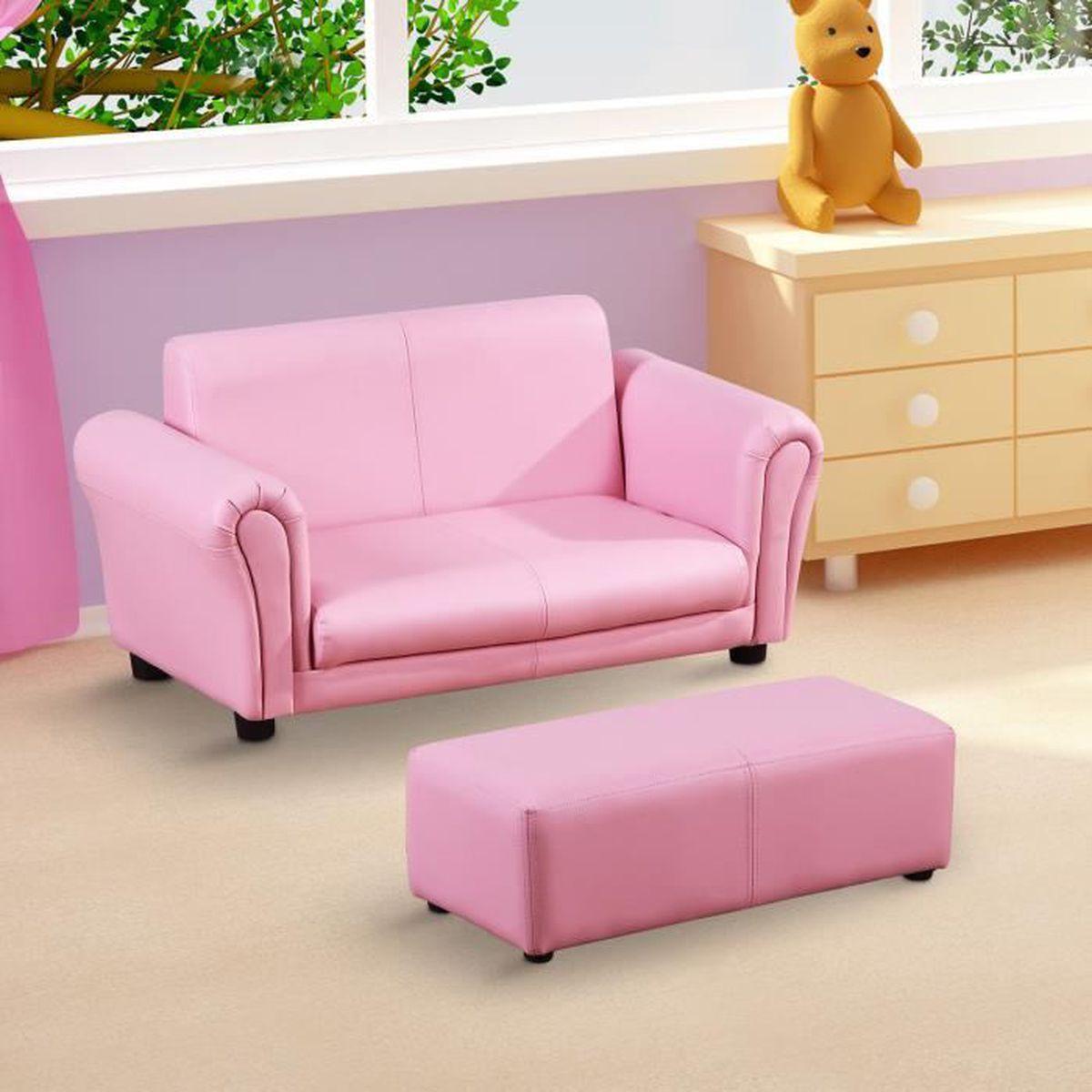 canap 2 places rose enfant banquette chambre enfant achat vente fauteuil cdiscount. Black Bedroom Furniture Sets. Home Design Ideas