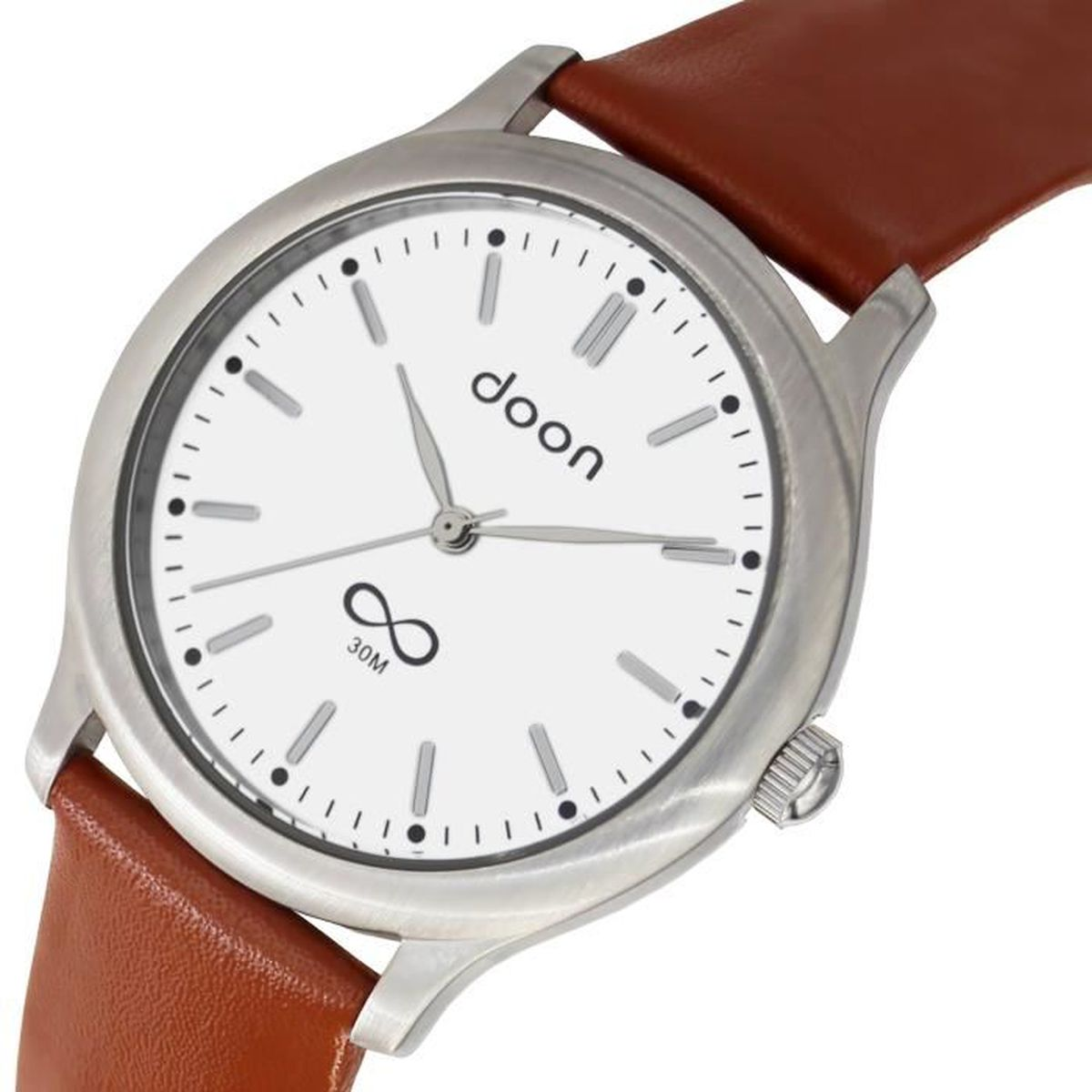 Montre homme blanc bracelet marron - Achat   Vente pas cher c85e5edaf78