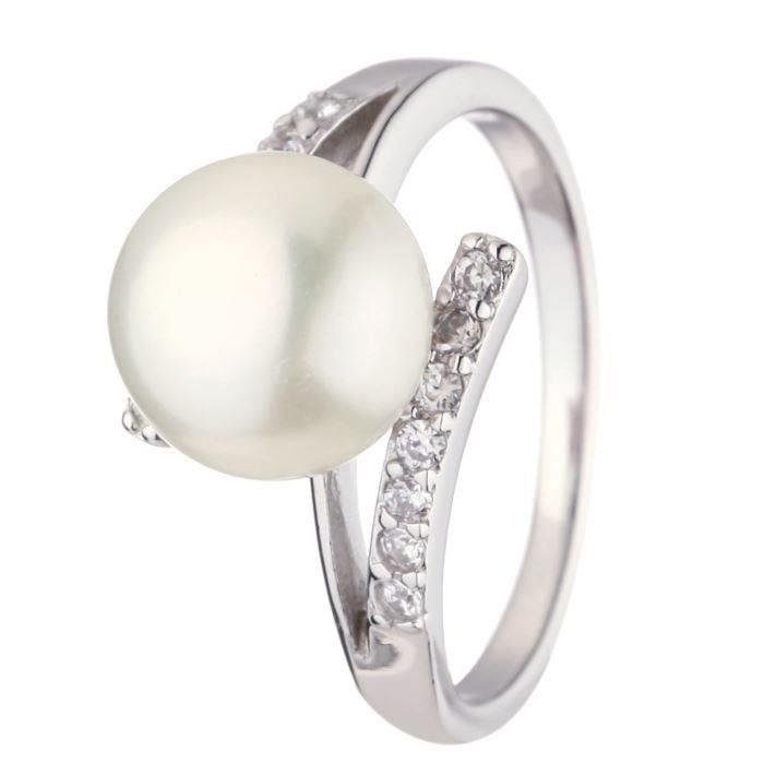 Nacre de perle bague argent 925° perle deau douce et oxydes de zirconium femme