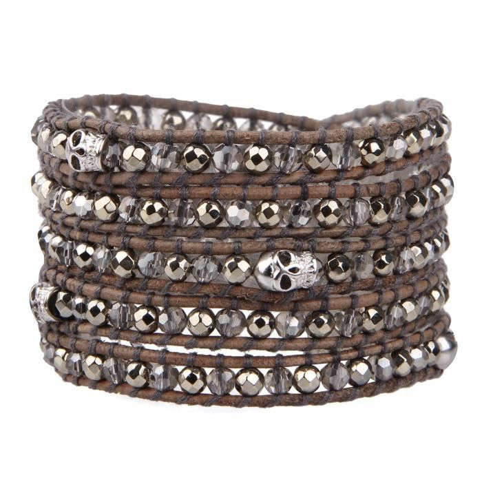 Womens Various Semi-precious Stones And Crystal Bead Two Tone Bracelet For , 5 Wraps Leather NDPMO