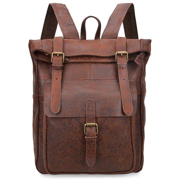 Sac à dos en cuir véritable Vintage Daypack décontracté pour 8186 (brun foncé) B5CWL