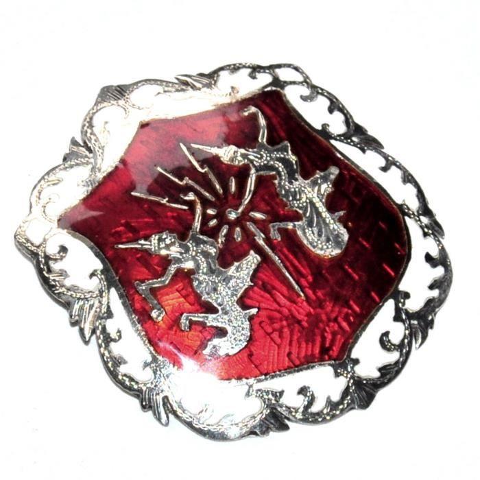 Broche vintage Siam argent sterling massif émail rouge déesse dieu foudre
