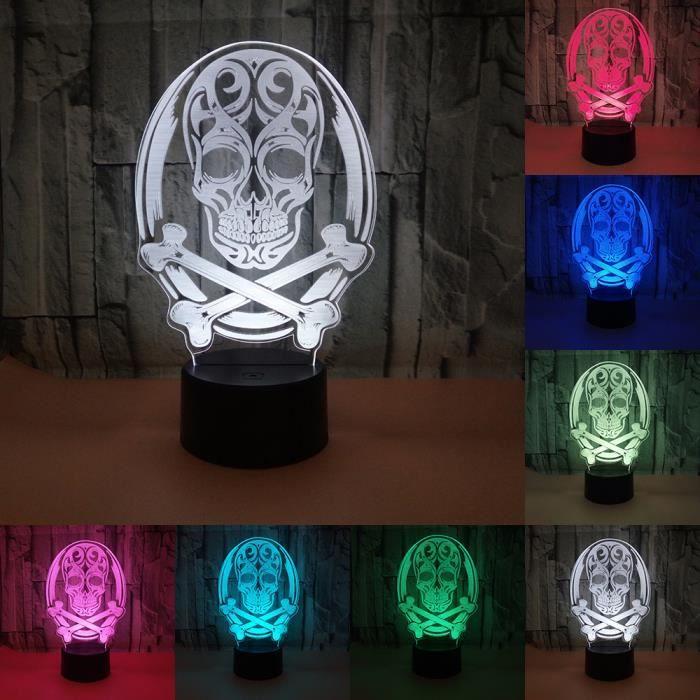 Enfants 7 Crâne Bureau Nuit Changer Couleur La Lampe Led De Acrylique Cadeau Bulbaison Illusion Pour Lumière 3d Rq34AjLc5