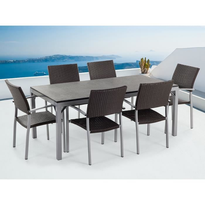 Table de jardin aluminium - plateau granit 180 cm et 6 chaises en ...