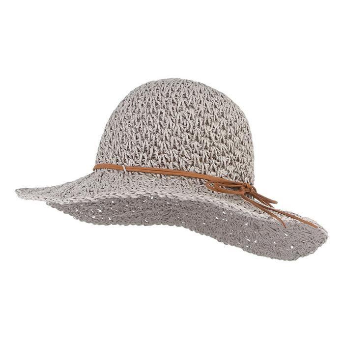 marque célèbre meilleurs prix acheter mieux GEMVIE Chapeau de Paille Femme Capeline Anti-UV Bord Large Pliable Chapeau  De Soleil pour été Plage Loisir Voyage Vacances