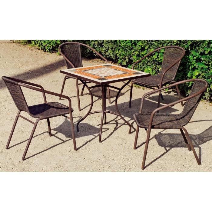 Hevea - Ensemble table mosaïque tons brique et beige 70cm avec 4 ...
