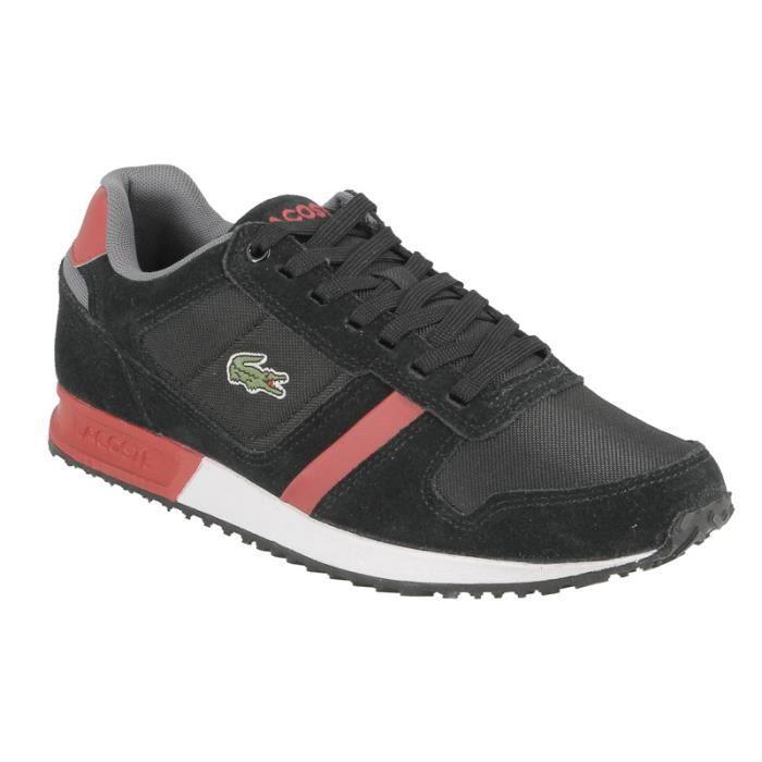 9f58a5ab69 Basket Lacoste Vauban, inspirée du running, en textile noir et rouge ...
