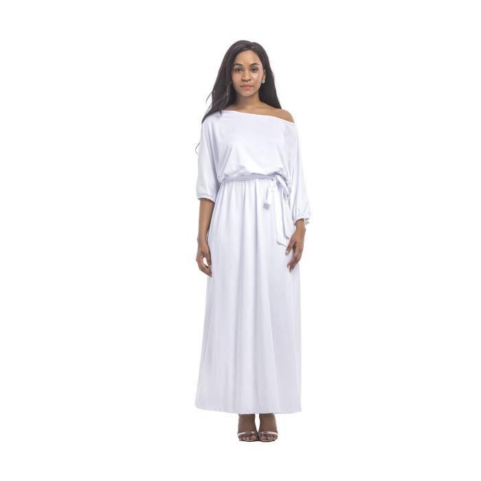 8cc4760fc37 Robe Femme longue Printemps sexy Bretelles loose fit mode loisirs Blanc SIMPLE  FLAVOR