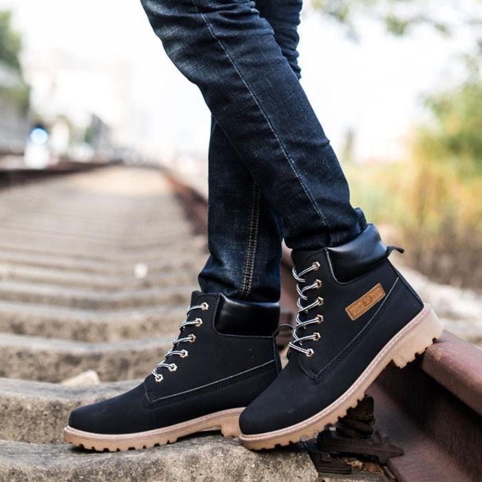 Hexiaoqin Doublée 183 Hommes Bottines Chaussures Chaud Hiver Martin noir Automne Fourrure Bottes AqvqE