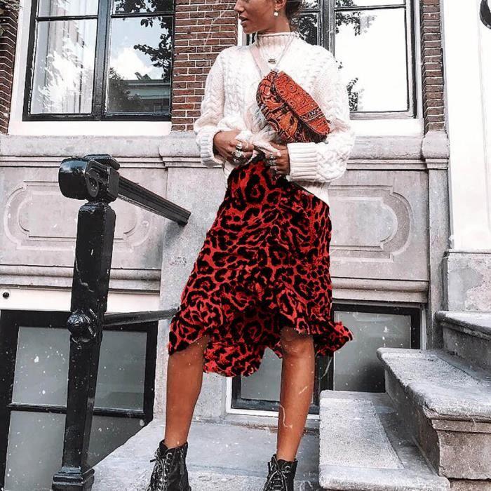 Taille Imprimé Longue Vintage Haute Léopard Jupe Femmesrouge Plissés Casual Sx14qaFw