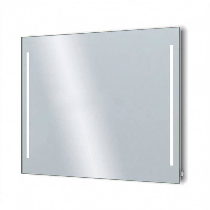 Miroir Salle De Bain 100 X 75 Cm Avec Rétro Eclairage LED