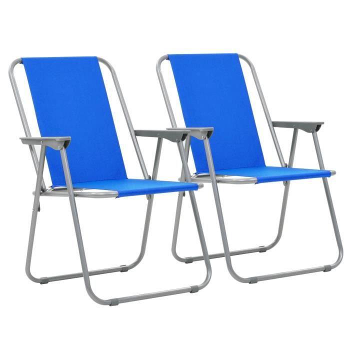 Bleu 52 80 De Pcs X Vidaxl Chaise Cm Camping 59 2 Pliante hxsrCtdQ