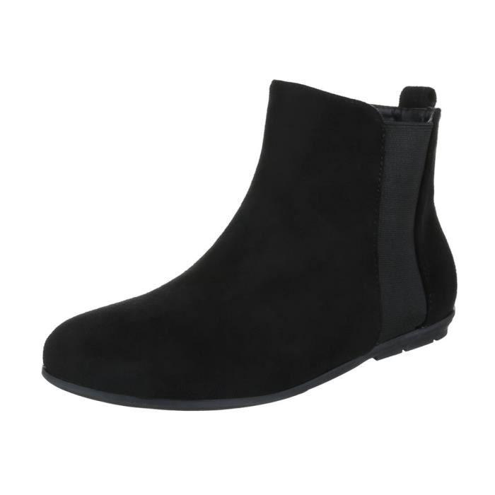 femme bottine chaussure arbre court confort Chelsea botte noir