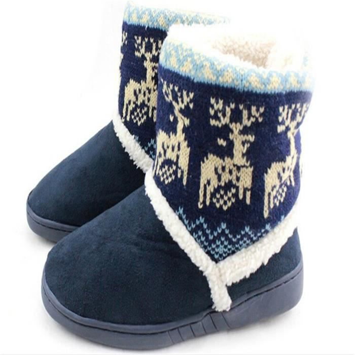 Bottines blanc gris rembourr Deer Snow Femmes bleu Boots Coton Hiver Chaussures Rouge Zx xz033bleu40 rrxqAw1p