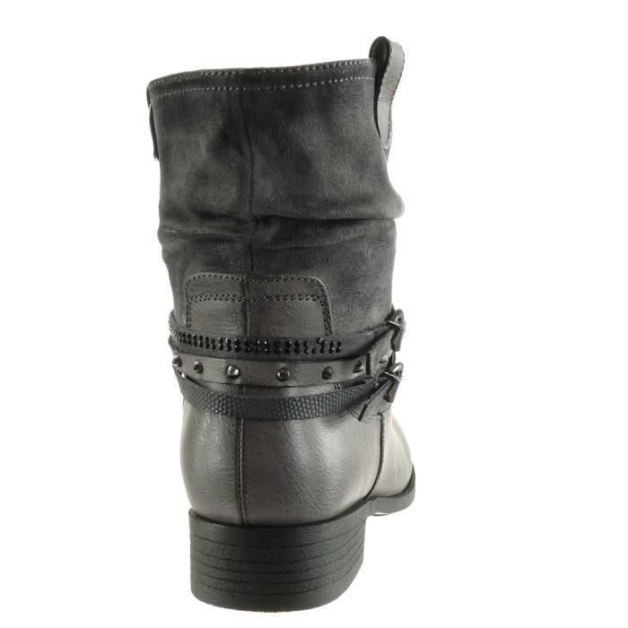 Angkorly - Chaussure Mode Bottine cavalier motard bi-matière femme multi-bride peau de serpent clouté Talon bloc 3 CM - Intérieur