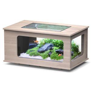 SOUS MEUBLE Aquarium table LED 100X63 cm noyer clair Taille