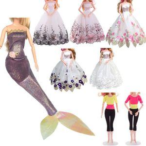 ACCESSOIRE POUPÉE 8PC Robe de mariée pure pour Barbie Doll Soirée Vê