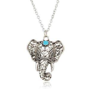 f1ea3ea809b SAUTOIR ET COLLIER Collier femme éléphant perle bleu turquoise argent