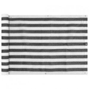 CLÔTURE - GRILLAGE Brise-vue pour balcon gris anthracite/blanc 600x75