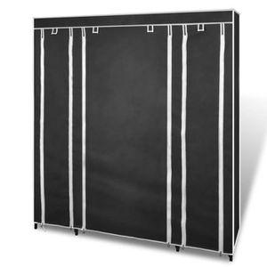 ARMOIRE DE CHAMBRE Armoire penderie tissu 45 x 150 x176 cm noire