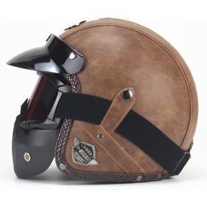 CASQUE MOTO SCOOTER Casque de Moto Vintage Simili Cuir Couleur Unie Ad