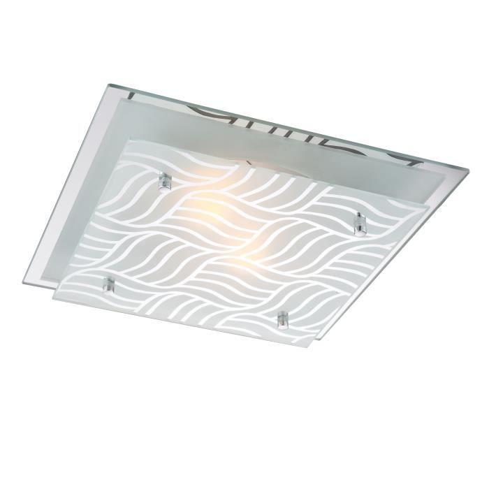Plafonnier chrome - plaque de verre satiné - LxWxH:240x240x85 - Ampoule non incluse - 1xE27 ILLU 40W 230VPLAFONNIER