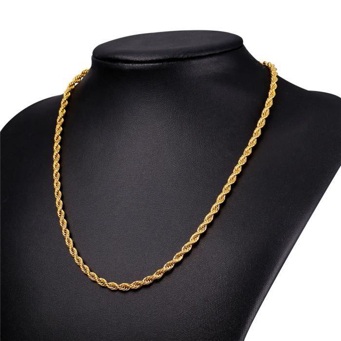 de564c77de0 U7 Collier Homme-Maille Corde-Acier INOX-Plaqué Or Jaune-71cm de Long-Cool  Accessoire-Bijoux pour Homme