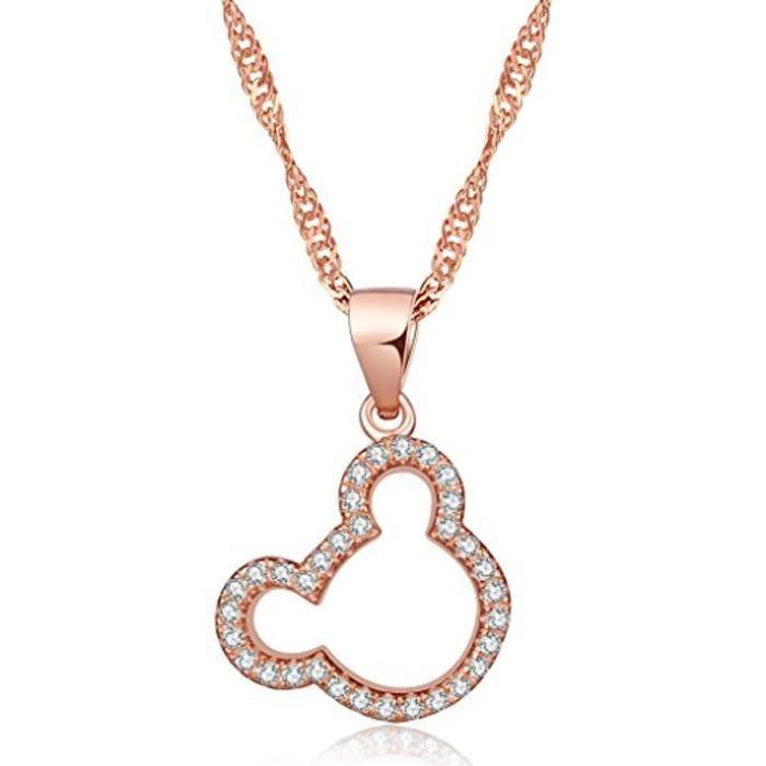 Collier Pendentif LOurs Aimable Orné Zirconium En Argent Fin S925 Or Rose Style Simple À La Mode Pour Femme Fille Jeunesse Comm