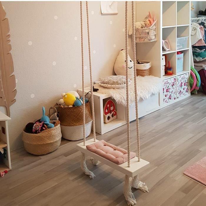 Balançoire Pour Enfants Chaise Suspendue Siège De Bois Jouet Jeux Plein Air  Jardin Pour Enfant Adulte Rose