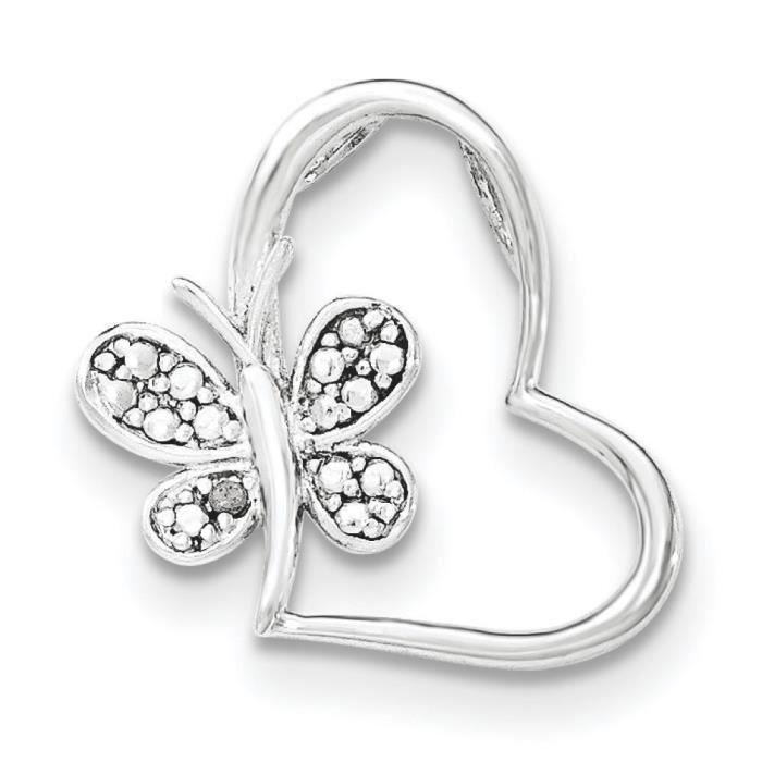 Argent Sterling diamant Papillon pendentif coeur