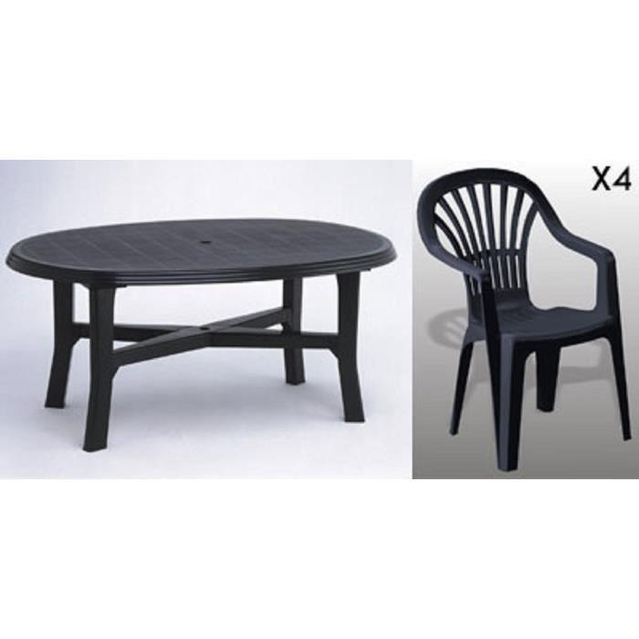 Table ovale grise + 4 fauteuils empilables gris avec dossier haut