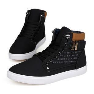 Chaussures hautes chaussures casual hommes respirant chaussures de garçons, noir 42